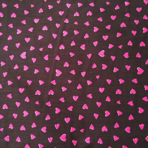 Katoen mondmasker mondkapje zwart met roze harten
