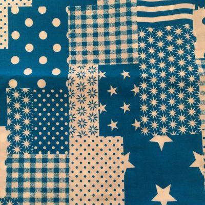 Stof mondkapje patchwork blauw