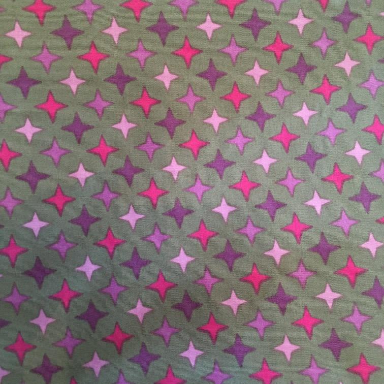 Stof mondkapje roze en paarse sterren
